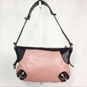 Bally Leather Handbag Pink Dark Brown Sanluri